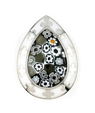 Millacreli Faceted Black Andk White Pear Shape Sterling Silver 925 Ring