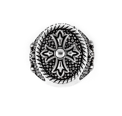 Twisted Blade Silver Round Sterling Silver Designer Ring With Fleur De Lis Cross Center