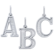 "Rhodium Plated Sterling Silver ""A to Z"" Initial Pendant"