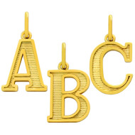 Yellow Gold-Tone Plated Sterling Silver A To Z Initials Charm