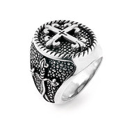 Twisted Blade Silver Round Fleur De Lis Cross Sterling Silver Designer Ring With Thin Cross
