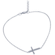 "Rhodium Plated Cubic Zirconia Cross Anklet 9"" + 1"""