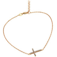 "Rose Gold-Tone Plated Cubic Zirconia Cross Anklet 9"" + 1"""