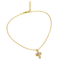 "Gold-Tone Plated Small Cubic Zirconia Cross Anklet 9"" + 1"""