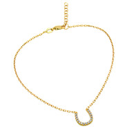 "Gold-Tone Plated Cubic Zirconia Horseshoe Anklet 9"" + 1"""