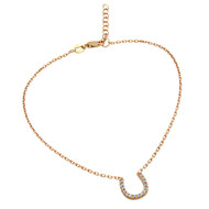 "Rose Gold-Tone Plated Cubic Zirconia Horseshoe Anklet 9"" + 1"""