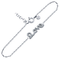 "Rhodium Plated Cubic Zirconia Love Bracelet 6.5"" + 1"""