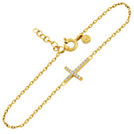 "Gold-Tone Plated Cubic Zirconia Sideways Cross Bracelet 6.5"" + 1"""