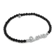 Rhodium Plated Cubic Zirconia Love Message With Black Spinel Beads Stretch Bracelet 7""