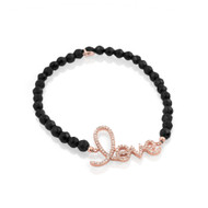 Rose Gold-Tone Plated Cursive Love Black Simulated Onyx Bead Bracelet 7""