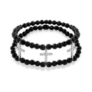 Rhodium Plated Three Cubic Zirconia Crosses On A Double Black Simulated Onyx Bead Stretch Bracelet 7""