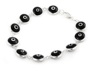 Black Glass Eye Bracelet 7""