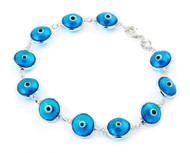Light Blue Glass Eye Bracelet 7""