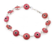 Pink Glass Eye Bracelet 7""