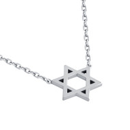 "Rhodium Plated Sterling Silver High Polished Star Of David Necklace 16"" + 2"""