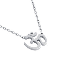 "Rhodium Plated Sterling Silver High Polished Om Necklace 16"" + 2"""