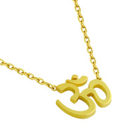"Gold-Tone Plated Sterling Silver High Polished Om Necklace 16"" + 2"""