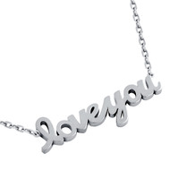 "Rhodium Plated Sterling Silver High Polished ""Love You"" Necklace 16"" + 2"""