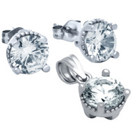 Rhodium Plated Round Cubic Zirconia Set Pendant And Stud Earrings