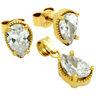 Gold-Tone Plated Pear Shape Cubic Zirconia Set Pendant And Stud Earrings