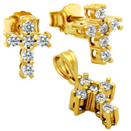 Gold-Tone Plated Cross Cubic Zirconia Set Pendant And Stud Earrings