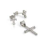 Rhodium Plated Pave Cubic Zirconia Cross Set Pendant And Stud Earrings
