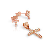 Rose Gold-Tone Plated Pave Cubic Zirconia Cross Set Pendant And Stud Earrings