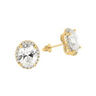 Gold-Tone Plated Oval Cubic Zirconia Earrings With All Around Small Cubic Zirconia Stones