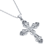 Pave Cubic Zirconia Intricate Cross Necklace With Hearts