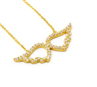 Gold-Tone Plated Angel Wings Cubic Zirconia Necklace