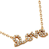 """Rose Gold-Tone Plated Cubic Zirconia Love Necklace 16""""+2"""" Adjustable"""