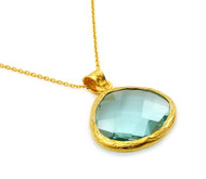 "Gold-Tone Plated Sterling Silver 925 And Simulated Aquamarine Quartz Necklace 16""+2"" Adjustable"