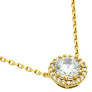 """Round Cubic Zirconia Necklace Gold-Tone Plated In 16"""" + 2"""""""