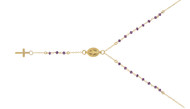 "Gold-Tone Plated Simulated Amethyst Rosary Necklace 18"" + 2"""