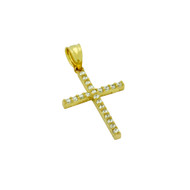 Gold-Tone Plated Cross Pendant With Cubic Zirconia