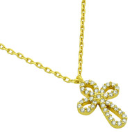 "Gold-Tone Plated Rounded Cross Cubic Zirconia Necklace 16"" + 2"""