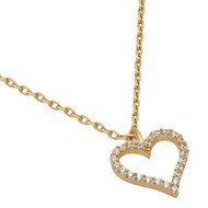 "Rose Gold-Tone Plated Cubic Zirconia Heart Necklace 16"" + 2"""