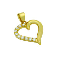 Gold-Tone Plated Cubic Zirconia Heart Pendant