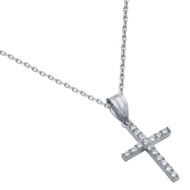 Rhodium Plated Small Cubic Zirconia Cross Necklace