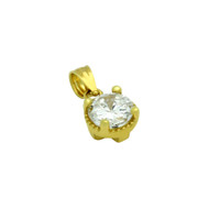 Gold-Tone Plated Round Cubic Zirconia Pendant