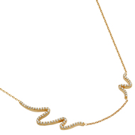 """Rose Gold-Tone Plated Cubic Zirconia Wave Design Necklace 16"""" + 2"""""""