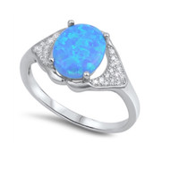 Two Whale Tails  Holding An Oval Blue Simulated Opal Designer Ring Cubic Zirconia Sterling Silver 925