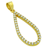 Yellow Gold-Tone Plated Sterling Silver Cubic Zirconia Teardrop Pendant