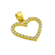 Yellow Gold-Tone Plated Sterling Silver Cubic Zirconia Heart Pendant