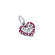 Rhodium Plated Sterling Silver Clear & Simulated Ruby Cubic Zirconia Pave Heart Pendant