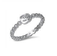 Eternity Ring Cubic Zirconia With Flower Design Ring Sterling Silver 925