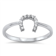 Horseshoe Cubic Zirconia Ring Sterling Silver 925