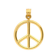 Yellow Gold-Tone Plated Sterling Silver Plain Peace Sign Pendant