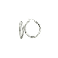 Sterling Silver Mesh Tube Hoop Earrings