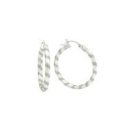 Sterling Silver Striped Swirl Tube Hoop Earrings
